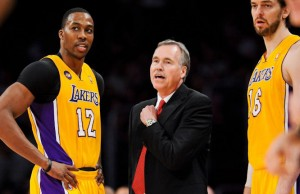 Could head coach Mike D'Antoni, middle, be the reason Dwight Howard leaves the Lakers? (Facebook/ Los Angeles Lakers)