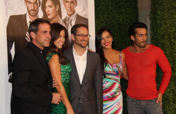 "Cast of ""Santa Diabla"" includes  Gaby Espino and Aarón Díaz as the protagonists, with Carlos Ponce and Ximena Duque as antagonists. (Marvin Vasquez/Living Out Loud LA)"