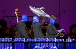 Blue Man Group performing on Saturday, Sept. 7 at the Hollywood Bowl. (Christopher Polk/Getty Images)