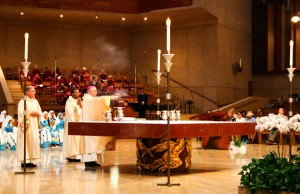 Archbishop José H. Gomez  during votive mass on Saturday, September 14 at the Cathedral of Our Lady of the Angels in Los Angeles. (Ramon Aviles/Living Out Loud LA)