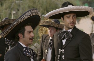 Omar Chaparro and Jaime Camil play mariachi music singers in Pulling Strings. (Pantelion Films)
