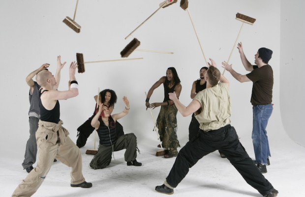"""Stomp"" cast with brooms. (Junichi Takahashi)"