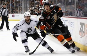 The Los Angeles Kings and Anaheim Ducks play each other Saturday at Dodger Stadium.