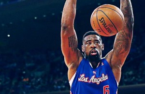 DeAndre Jordan dunking the ball during the Clippers game against the Knicks in New York. Jordan finished the game with 11 points and 16 rebounds. (Facebook/Los Angeles Clippers)