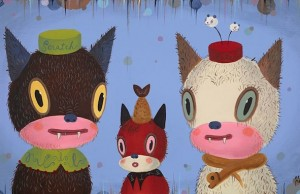 Gary Baseman's latest, Scratch & Bite, debuted along with other feline images at the Cat Art Show.