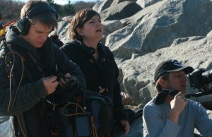 Director Kim Cummings, middle, on the set of In Montauk. (Siren's Tale Productions)