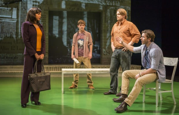 "(L-R) Taraji P. Henson, Seamus Mulcahy, Joe Massingill and Kristopher Higgins in ""Above the Fold"" at the Pasadena Playhouse. (Jim Cox)"