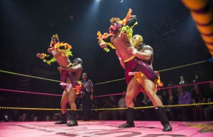 Crazy Chickens wrestle during Lucha VaVOOM's annual Valentine's Day show at The Mayan Theatre on February 11, 2014 in downtown Los Angeles. (Lucha VaVOOM)