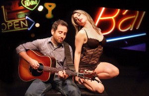 """Ross Golan and Jennifer Brasuell in """"The Wrong Man,"""" which runs until March 16 at the Skylight Theatre. (Ed Krieger)"""
