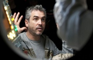 The top choice for the Directing Oscar, Alfonso Cuarón, on the set of Gravity. (Murdo Macleod/Warner Bros. Pictures)