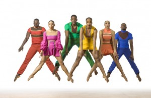 """PHILADANCO's """"Bewildered,"""" featuring (l-r) Tommie-Waheed Evans, Rosita Adamo, Adryan Moorefield, Janine N. Beckles, Courtney Robison, and Victor Lewis, Jr.,  from the full evening work """"James Brown: Get on the Good Foot, a Celebration in Dance."""" (Lois Greenfield)"""