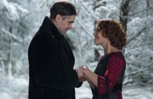 Colin Farrell as Peter Lake and Jessica Brown Findlay as Beverly Penn in Winter's Tale. (Warner Bros. Pictures)