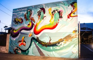 Chris Sanchez's mural, pictured here, is on display at Mad Ave L.A. (Farah Sosa)