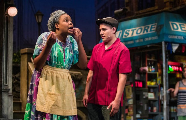 "Nyallah Noah as Abuela Claudia and Jose Velazquez as Usnavi in the musical ""In the Heights."" (Bob Young)"