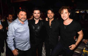 "(l-r) Jesus Lopez, Juanes, Luis Fonsi, and David Bisbal at the Universal Music Latin Entertainment's (UMLE) exclusive ""FIRE+ICE"" after party in celebration of Latin music."