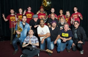 WAR and Cheech & Chong (pictured here with members of the USC Trojan Band) got funky at the Greek Saturday night.