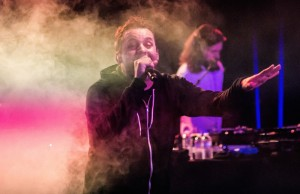 Slug (Sean Daley) of Atmosphere showcasing his rapping skills on Thursday, May 8 at The Roxy Theatre in West Hollywood, Calif. (Michael Carranza/Living Out Loud LA)