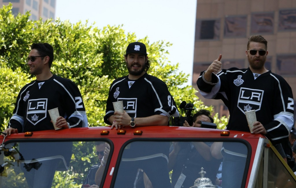 L.A. Kings Alec Martinez, Drew Doughty and Trevor Lewis (Gabriel Preciado/Living Out Loud LA)