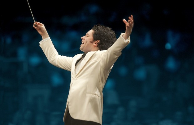 Gustavo Dudamel puts everything he has into each song when he is conducting. (Adam Latham)