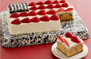 Wow the crowd at your July 4th party with this patriotic flag cake. (foodnetwork.com)