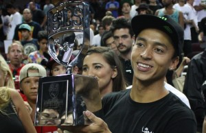 SLS Nike SB Word Tour L.A. winner Nyjah Huston accepts his trophy on Sunday. (Pablo Lopez/Living Out Loud LA)