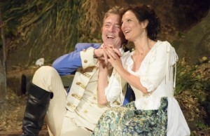 """Benedick (Robertson Dean) and Beatrice (Susan Angelo) in """"Much Ado About Nothing"""" (Ian Flanders)"""