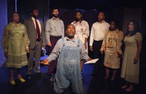 "Jimmer Bolden as J.B. Murray, center, with the ensemble of ""Visionary Man"" (Ed Krieger)"
