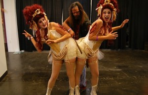 There were even sideshow demonstrations, like these conjoined twins, that were part of ScareLA's haunt samplings. (Sabina Ibarra/Living Out Loud LA)