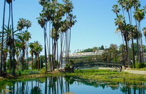 Thanks to the city of Los Angeles, you can sit by Echo Park Lake and enjoy free Wi-Fi. (Yuri Shimoda/JigsawMagazine.com)