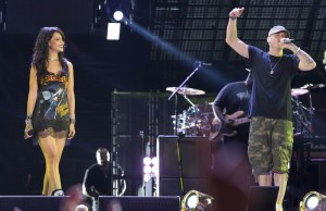 Rihanna and Eminem joined forces on stage at the Rose Bowl Thursday night. (Jeremy Deputat/Picture Group)