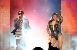 """Jay Z and Beyoncé perform the """"On the Run Tour"""" at the Rose Bowl in Pasadena. (Frank Micelotta/PictureGroup)"""