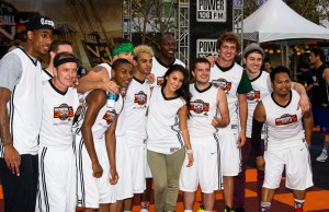 The white jerseys, led by host Josh Hutcherson, reigned supreme in this year's celebrity game. (Dougal Brownlie/Living Out Loud LA)
