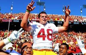 Kicker Andre Heidari played a big part in helping USC defeat Stanford for the second season in a row. (Instagram)