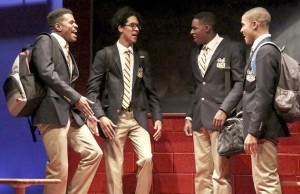 """Jeremy Pope, left, Caleb Eberhardt, Grantham Coleman and Nicholas L. Ashe in """"Choir Boy"""" at the Geffen Playhouse. (Michael Lamont)"""