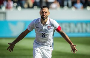 Clint Dempsey celebrates his goal against Panama on Sunday, Feb. 8, 2015 at StubHub Center in Carson, Calif. en route to the U.S. winning 2-0. (Rafael Orellana/Living Out Loud LA)