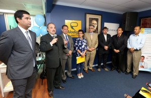Members of Alodiga and El Rescate announce partnership on February 20, 2015 at El Rescate's office in Los Angeles.