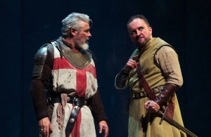 "Darrell D'Silva (left) as Siward and Keith Fleming (right) as Macduff in ""Dunsinane."" (KPO Photo)"