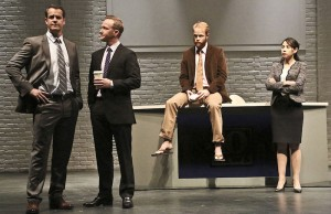 "(l-r) Josh Stamberg, Eric Ladin, Brendan Griffin and Elizabeth Rodriguez in ""The Power of Duff."" (Michael Lamont)"