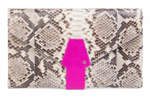 One of Helmer's newest bags is the Shevy Clutch in Natural Mix Pink.