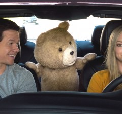 John (Mark Wahlberg), Ted (Seth MacFarlane) and Samantha (Amanda Seyfried) in Ted 2 (Universal)