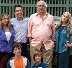 The Griswolds, played by Christina Applegate, Ed Helms, Chevy Chase, Beverly D'Angelo, Skyler Gisondo and Steele Stebbins (Warner Bros.)