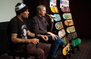 Tony Hawk and Ben Harper at the Boards + Bands launch press conference Aug. 12 in West Hollywood. (Jody Morris)