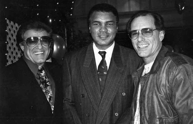 Sports writer and author of Los Angeles Sports Memories Doug Krikorian (right) with Muhammad Ali and Johnny Ortiz