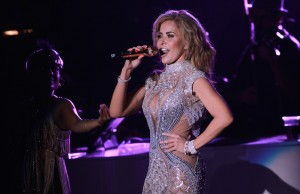 Gloria Trevi sings during her El Amor World Tour at the Greek Theatre. (Marvin Vasquez / Living Out Loud LA)