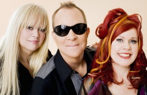 Cindy Wilson, Fred Schneider and Kate Pierson of the B52s celebrated the Fireworks Finale at the Hollywood Bowl.