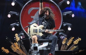 Dave Grohl led the Foo Fighters onslaught of sound at the Forum from his guitar throne. (David Tobin/LOL-LA)