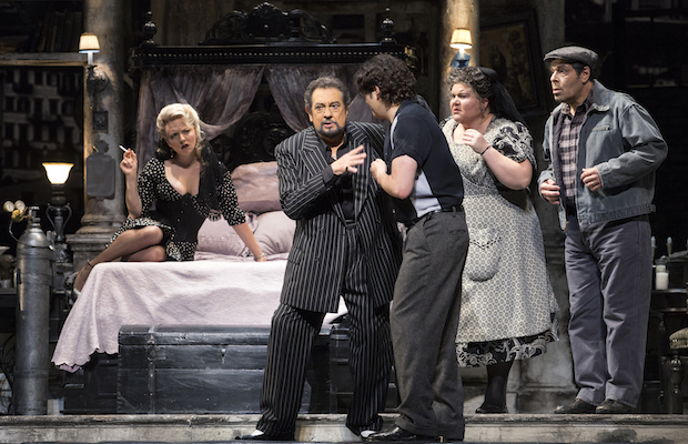 "Peabody Southwell, Plácido Domingo, Arturo Chacon-Cruz, Meredith Arwardy and Philip Cokorinos in ""Gianni Schicchi"" (Craig T. Mathew/LA Opera)"