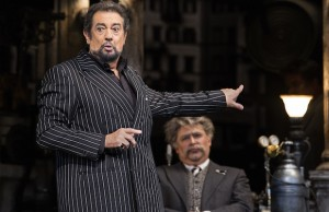 Plácido Domingo as Gianni Schicchi and Craig Colclough as Simone (Craig T. Mathew/LA Opera)