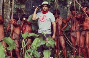 Director Eli Roth with extras from a Peruvian tribe whose village was near the set of The Green Inferno. (Eduardo Moreno)