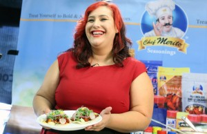 "Claudia Sandoval, a finalist on ""MasterChef,"" showed off her skills using Chef Merito products."